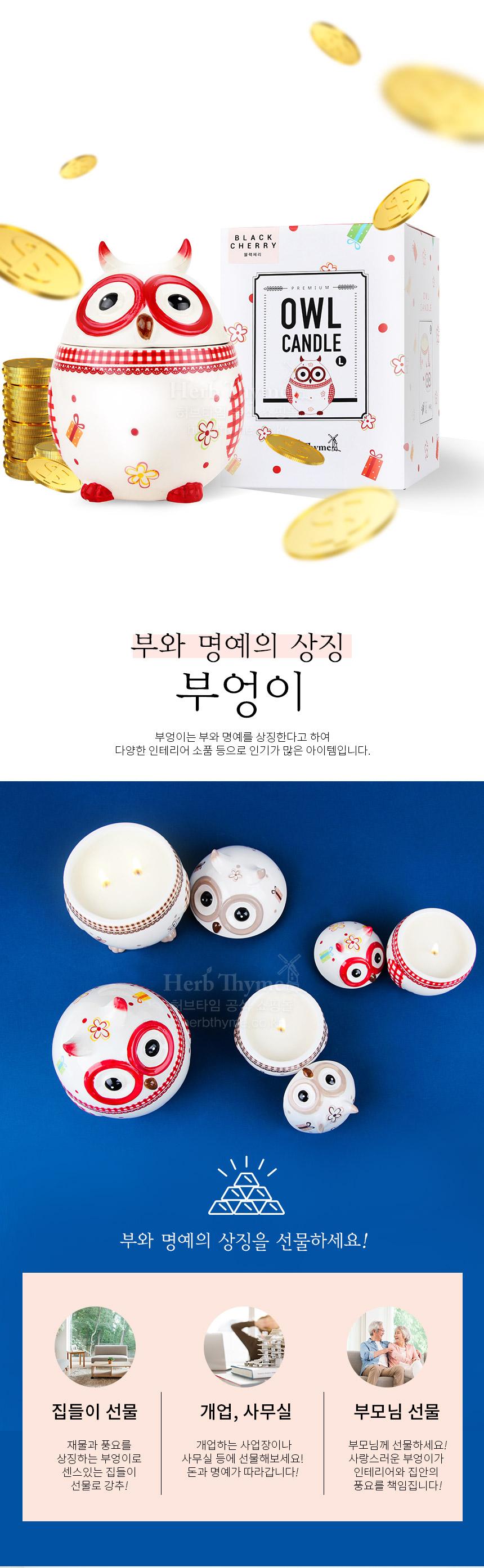 허브타임 향초 부엉이 소이캔들 (소) 5종 선택 - 허브타임, 7,900원, 캔들, 컵캔들